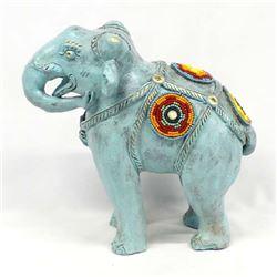 Beaded Painted Pottery Elephant by Kills Thunder