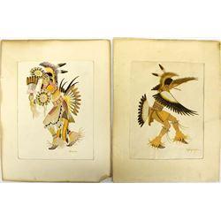 2 Vintage Kiowa Prints by Stephen Mopope