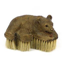 Antique Black Forest Carved Wood Bear Brush