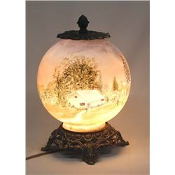 Antique Hand Painted Globe Lamp