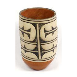 Santo Domingo Cylindrical Pottery Jar by Tenorio