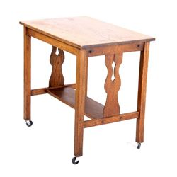 Early 1900 Quarter Sawn Oak Library Table