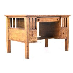 Early 1900's Quarter Sawn Oak Mission Desk