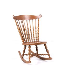 Early Carved Quarter Sawn Oak Rocking Chair