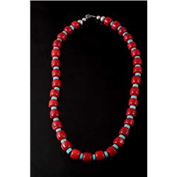 Navajo Turquoise & Branch Coral Necklace