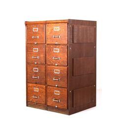 Oak Rockwell-Wabash Co. Vertical Filing Cabinet