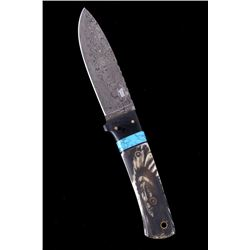Montana Blackfeet Chief Scrimshaw Damascus Knife