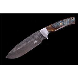 M.T. Knives Rams Horn & Damascus Recurve Knife