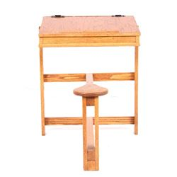 Solid Oak Children's Schoolhouse Desk