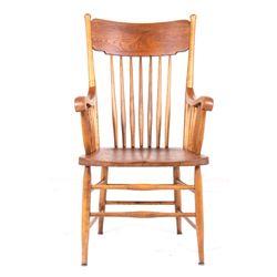 Quarter Sawn Oak Banister Adorned Chair