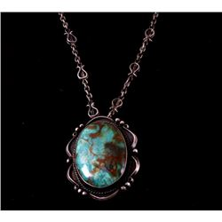 Navajo Old Pawn Royston Turquoise Pendant Necklace