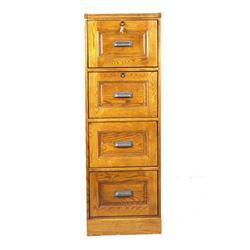 Solid Oak Raised Panel File Cabinet