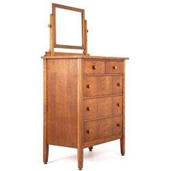 Mid 1900's Oak Veneer Highboy Dresser with Mirror