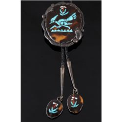 Navajo Tortoise Shell & Turquoise Inlaid Bolo Tie