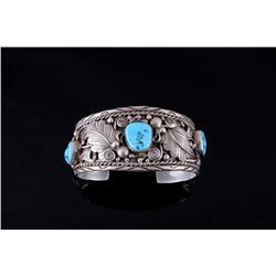 Navajo Signed Sleeping Beauty Turquoise Bracelet