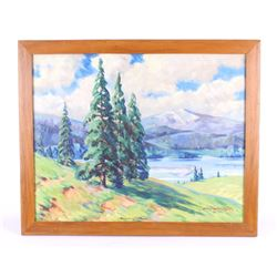 """Original C. Tolpo """"Whispering Pines"""" Oil on Canvas"""