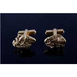 Alaskan 24K Gold Nugget Cufflinks 1950's