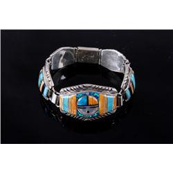 Zuni Signed Sunface Inlaid Sterling Bracelet