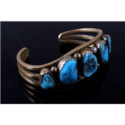 Navajo Morenci Turquoise Gold Overlay Bracelet