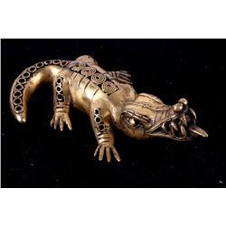 800-1200AD Columbian Gold Tumbaga Crocodile Effigy