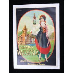 1920's Amaro Valesia Italian Wine Ad Poster