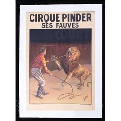 1930 Cirque Pinder Ses Fauves (Circus Lion) Poster