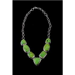 Taxco Sterling Silver Gaspeite Necklace