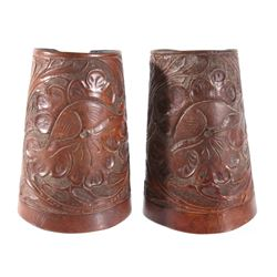 Montana Hand Tooled Leather Cowboy Cuffs