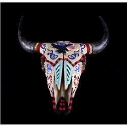 Large Buffalo Skull with Patriotic Motif