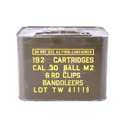 UNOPENED Can of 192 .30 Cal Ball M2 Cartridges