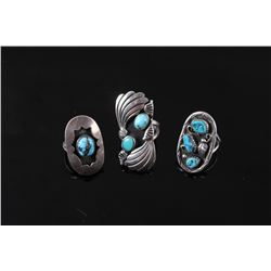 Collection of Navajo Silver & Turquoise Rings