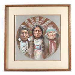 Signed Native American Chief Framed Artwork