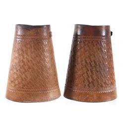 Montana Cowboy Leather Basket Weave Cuffs