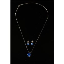 Sapphire Pendant Necklace and Matching Earrings