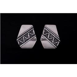 Navajo Thomas Singer Sterling Silver Earrings