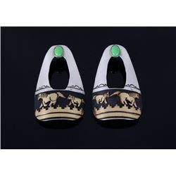 Navajo T. Singer Sterling Silver & Gold Earrings