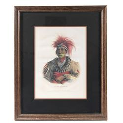 1842 Otoe Chief Framed Lithograph by James G Clark
