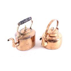 Two Mid 1800's Copper Gooseneck Dovetail Kettle