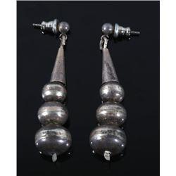 Navajo Sterling Earrings Cone & Graduated Beads