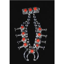 Navajo Sterling Silver & Coral Squash Blossom Pin