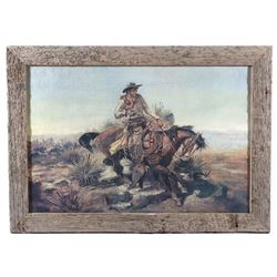 """""""Riding Line"""" Charlie Russell Framed Print"""