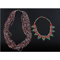 Pair of African Beaded Trade Necklaces