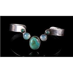 Signed Navajo Turquoise & Moonstone Bracelet