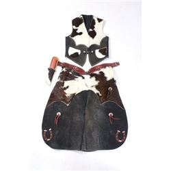 Cowhide Children's Outfit: Vest, Chaps & Sheath