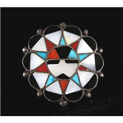 Zuni Sterling Silver Sunface Multistone Inlay Ring