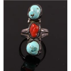 Navajo Turquoise & Ox Blood Coral Three Stone Ring