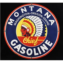 Montana Chief Gas Porcelain Enamel Sign Re-Make