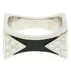14K White Gold 0.30 ctw Diamond & Black Enamel Stone Finished Squared Band Ring