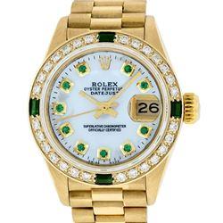 Rolex Ladies 18K Yellow Gold MOP Emerald President Wristwatch With Watch Winder