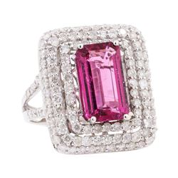 6.09 ctw Pink Tourmaline and Diamond Ring - 14KT White Gold